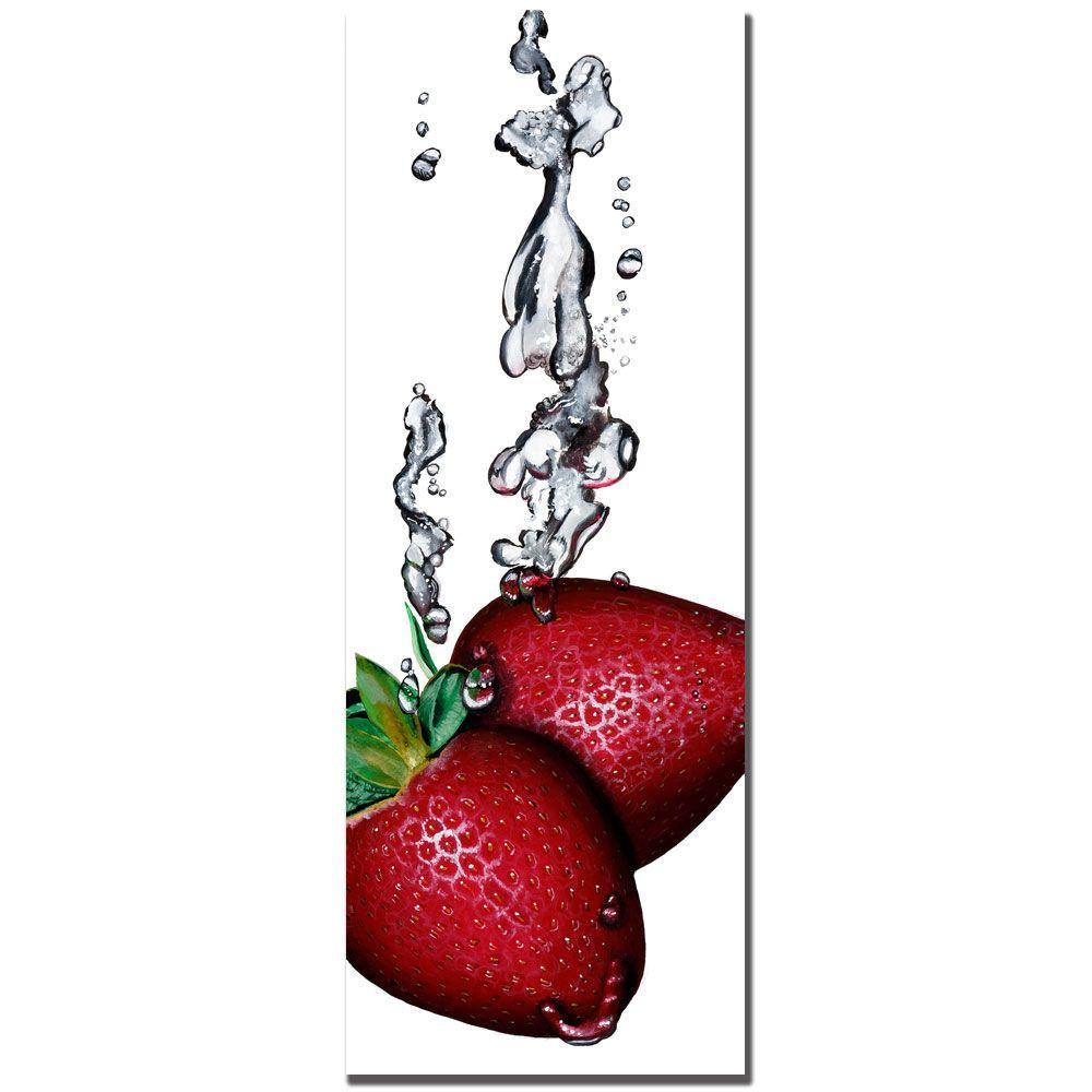 12 in. x 32 in. Strawberry Splash - White - by Roderick Stevens Canvas Art