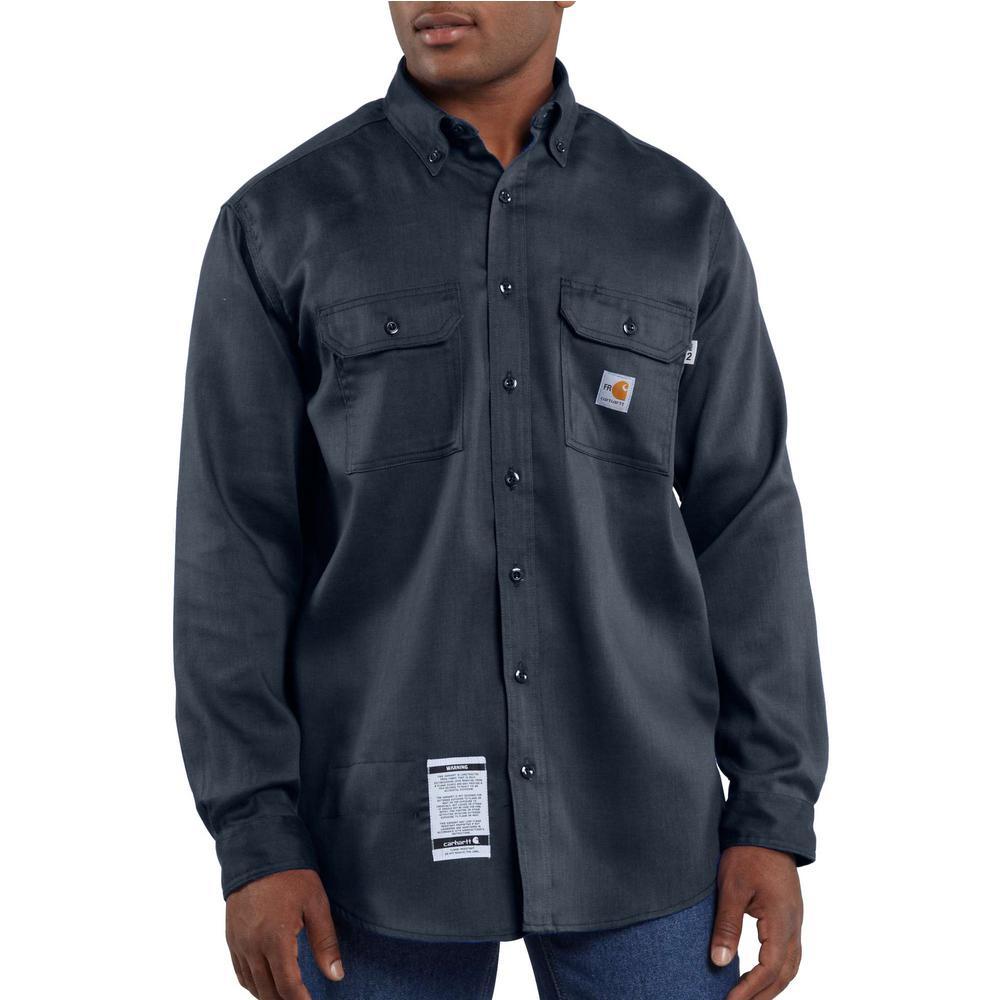 4861e60278c Carhartt Men s Regular Medium Dark Navy FR Light Weight Twill Shirt ...