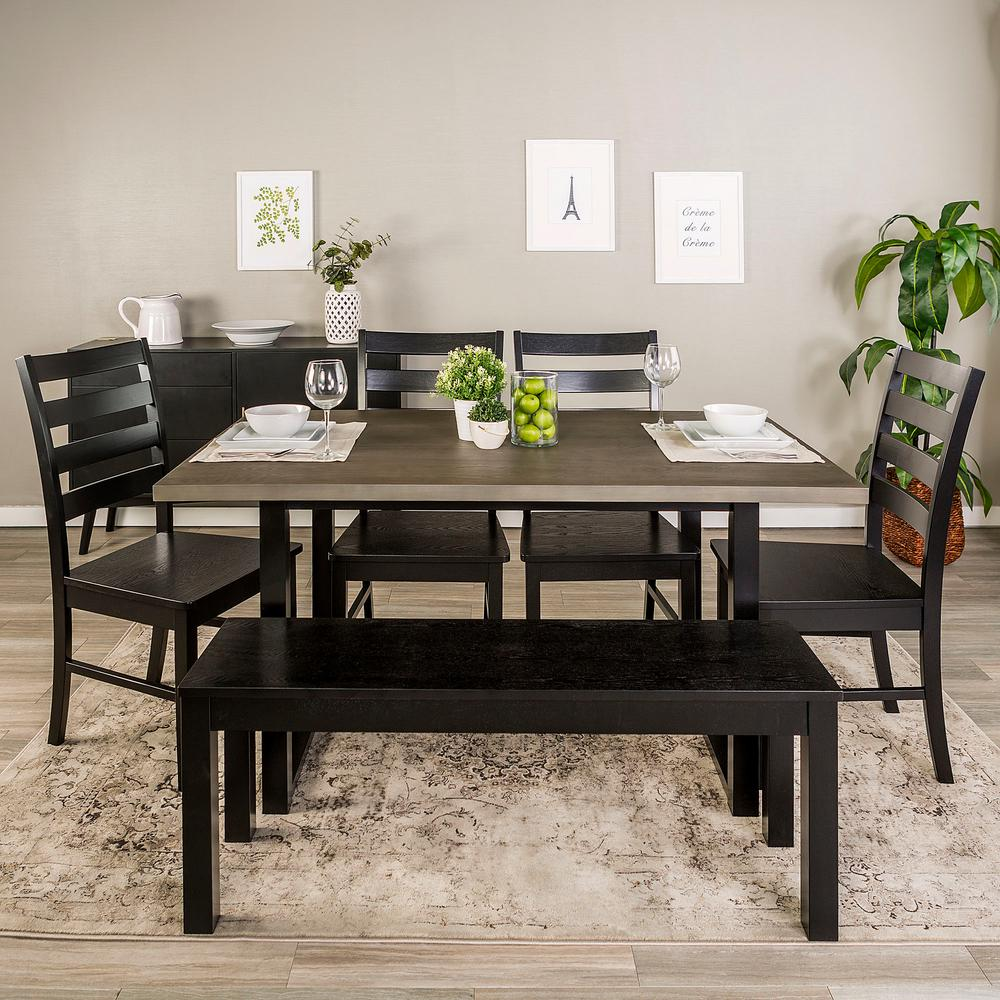 Madison 6 Piece Aged Grey/Black Wood Dining Set