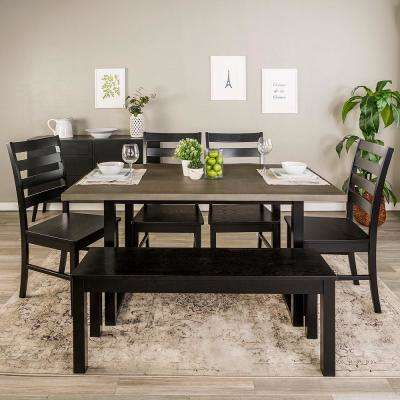 Madison 6-Piece Aged Grey/Black  Wood Dining Set