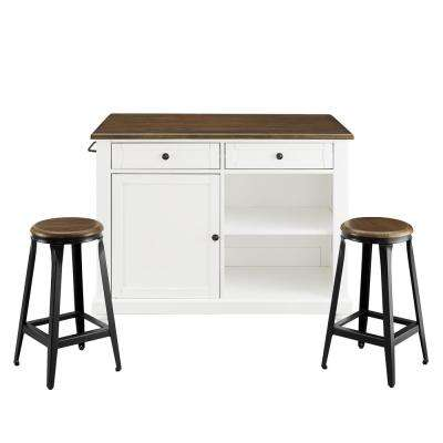 Petra 3-Piece White Kitchen Island with 2-Stools