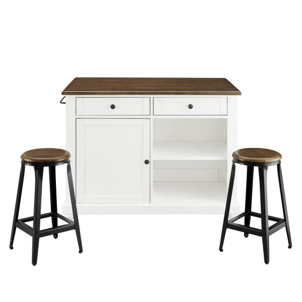 Dorel Living Petra 3-Piece White Kitchen Island with 2-Stools FH7867