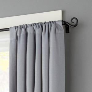 Kenney 48 inch - 86 inch Telescoping 1/2 inch Curtain Rod Kit in Black with Hook Finial by Kenney