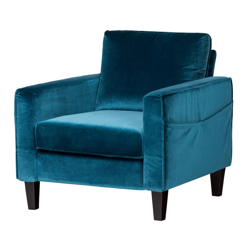 South Shore Live It Cozy 1 Seat Velvet Blue Sofa