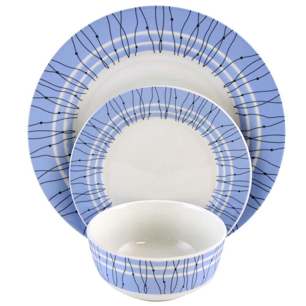 Gibson Home 12-Piece Decorated Classic Blue Fine Ceramic Dinnerware Set
