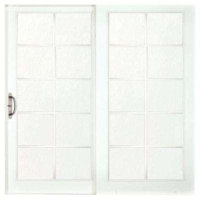 60 in. x 80 in. Woodgrain Interior and Smooth White Exterior Left-Hand Composite Sliding Patio Door with 10-Lite SDL