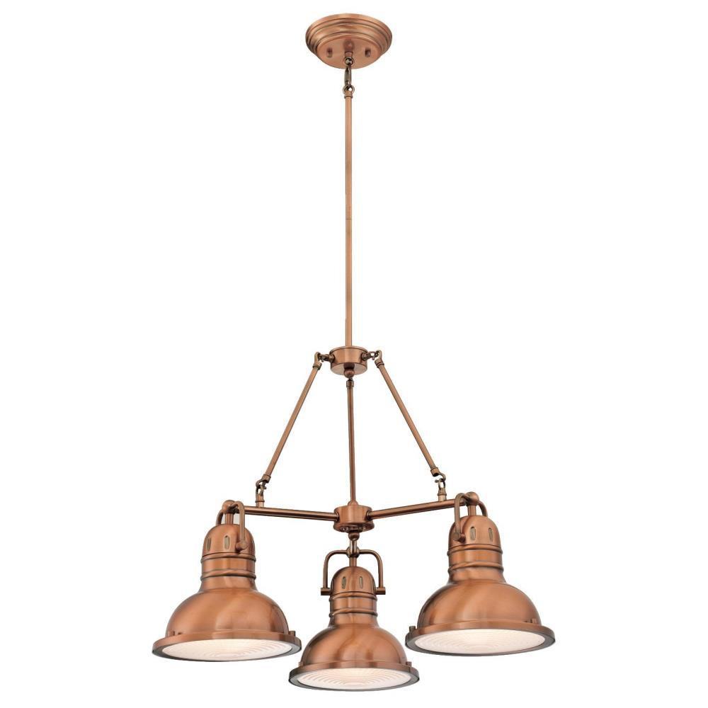 Westinghouse boswell 3 light washed copper chandelier with prismatic westinghouse boswell 3 light washed copper chandelier with prismatic acrylic lens aloadofball Gallery