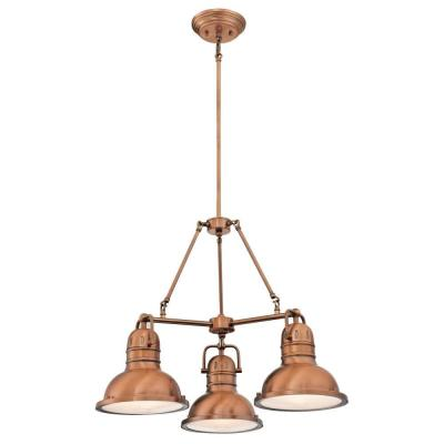 Boswell 3-Light Washed Copper Chandelier with Prismatic Acrylic Lens