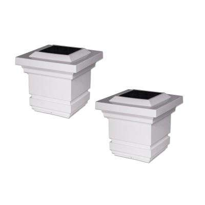 Classy 4 in. x 4 in. Outdoor White Vinyl LED Solar Post Cap (2-Pack)