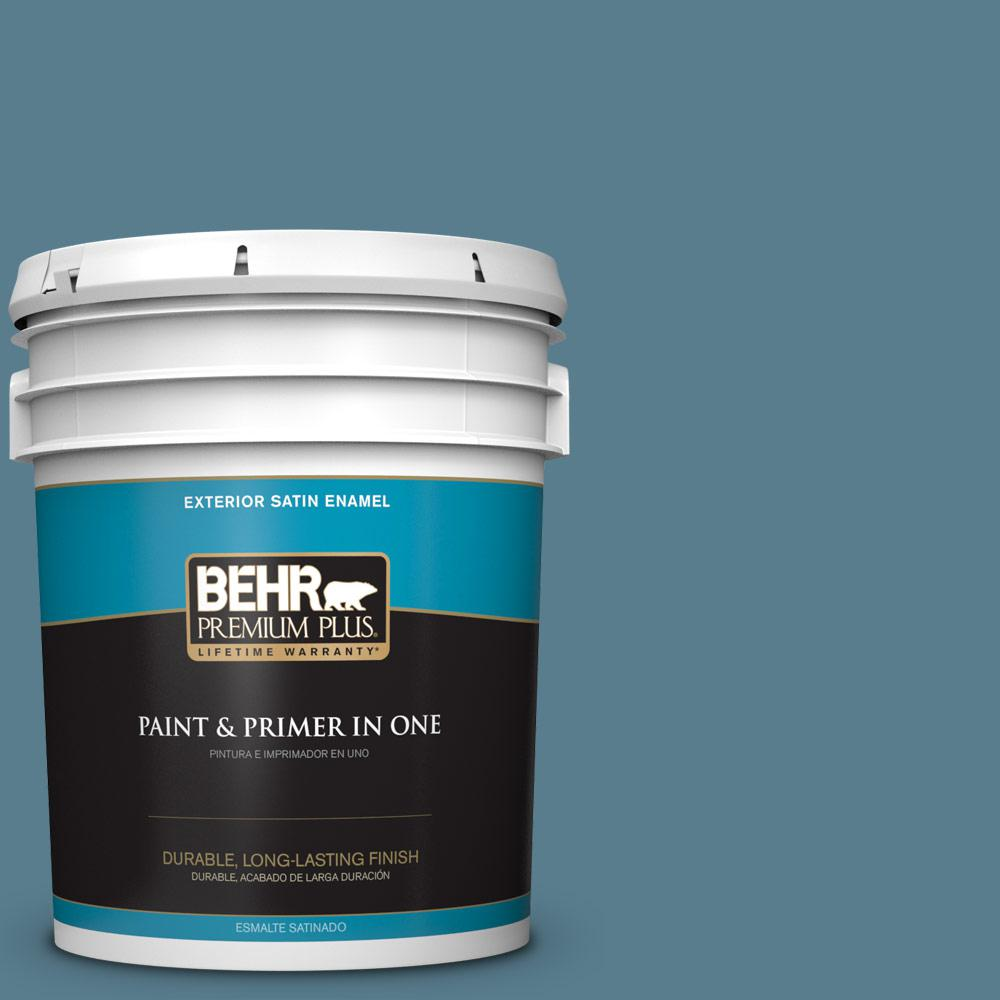 5 gal. #HDC-FL14-11 Cotton Denim Satin Enamel Exterior Paint