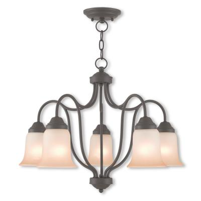 Karysa 5-Light Bronze Convertible Chandelier with Hand Applied Sunrise Marble Glass Shade