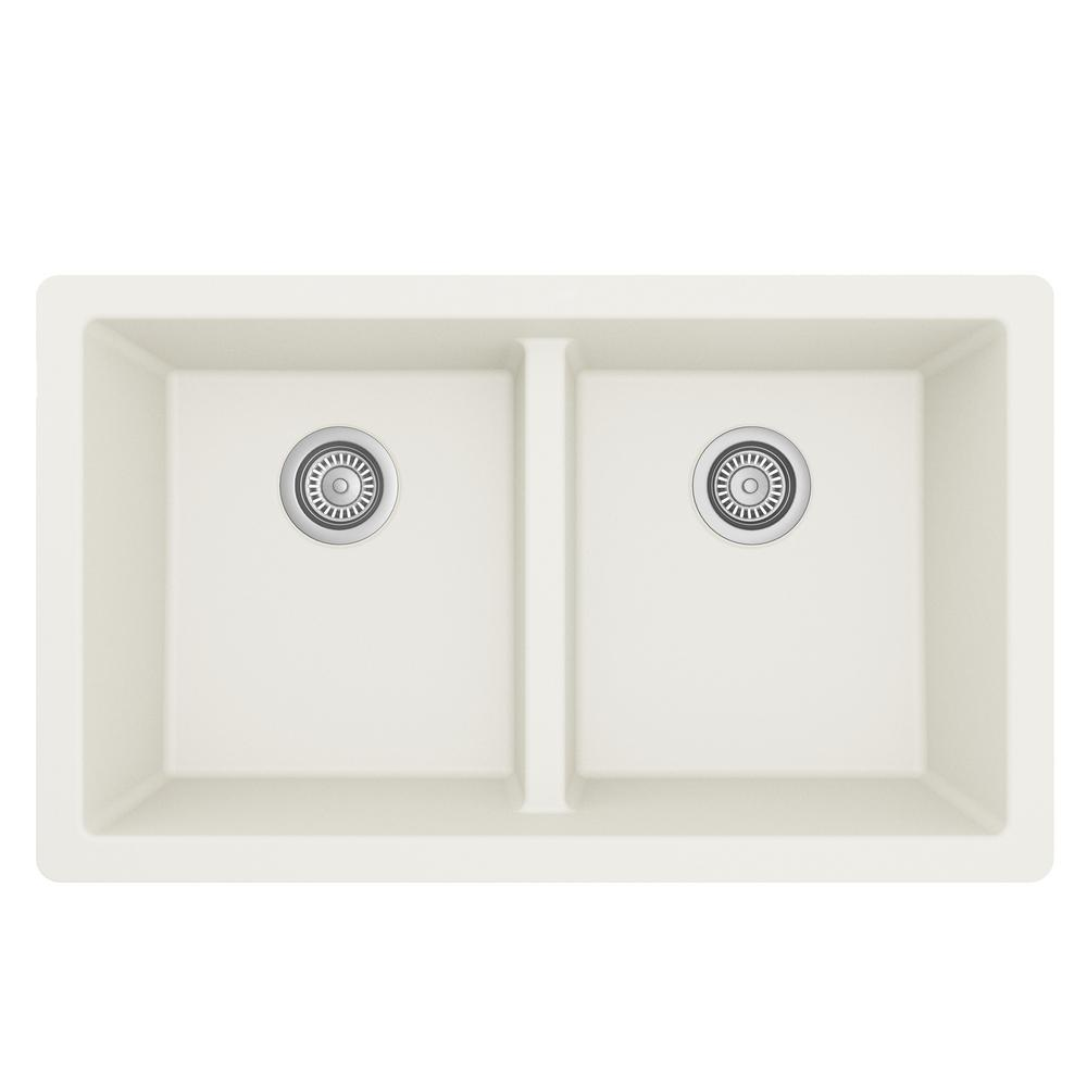 Karran Quartz White 33 in. 50/50  Double Bowl Composite Undermount Kitchen Sink