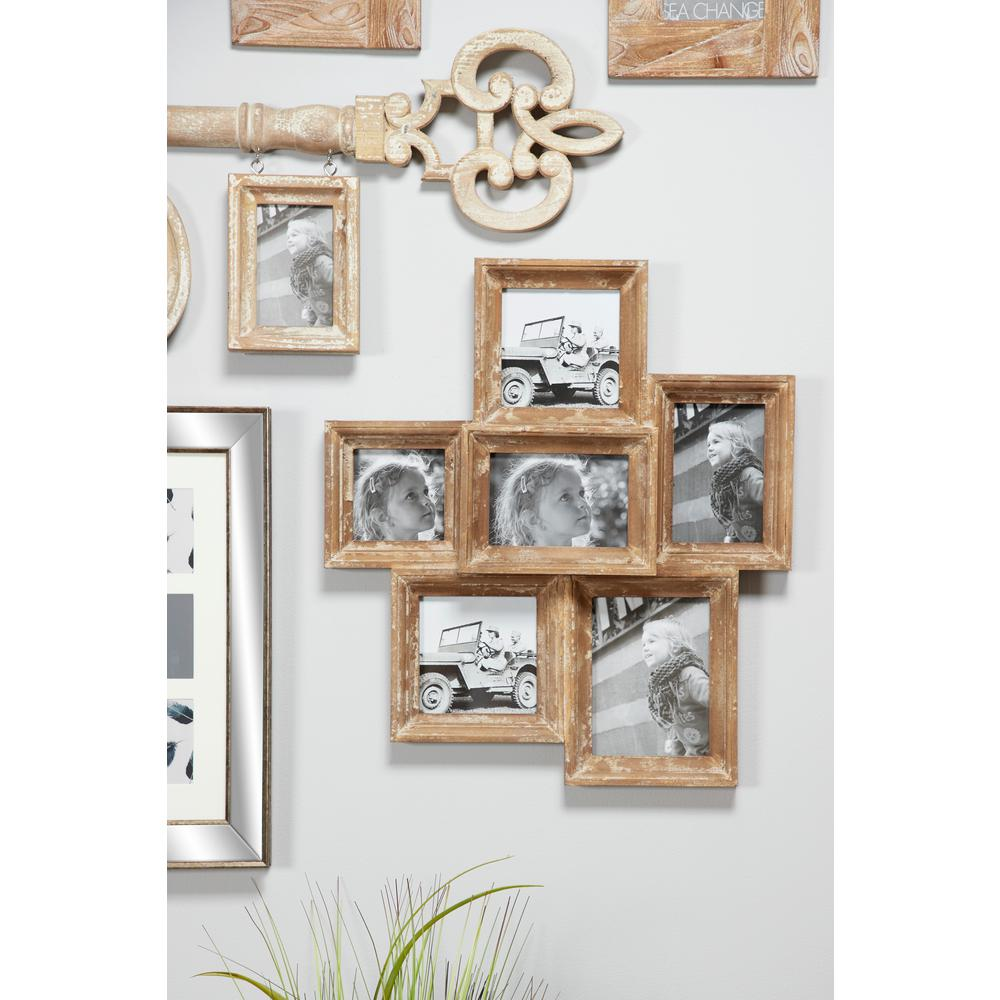 Litton Lane Wooden Collage Picture Frames Wall Decor with 6 Rectangular Picture Frames, Brown Simple yet dimensional, this wooden collage picture frame wall decor piece is comprised of 6 rectangular frames, each made from solid Chinese fir wood. A neutrally-toned, textural beige and white finish brings out the natural wood grain. Easily place your photos or art prints in the glass-covered 5x7 frames, and secure in place with the 4 metal arm closures in the back of each picture frame. Color: Brown.