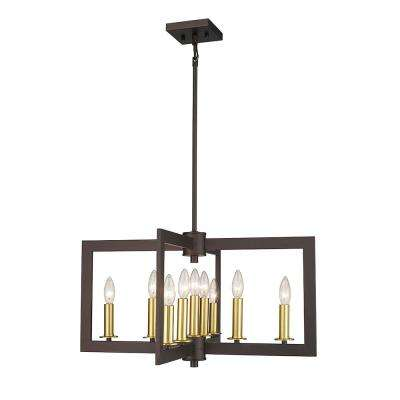 Napoleon I 9-Light Brass and Oil Rubbed Bronze 25 in. LED Chandelier