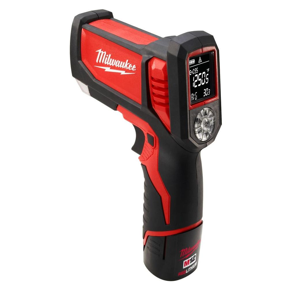 Milwaukee M12 12-Volt Lithium-Ion Cordless Laser Temp Gun for HVAC/R