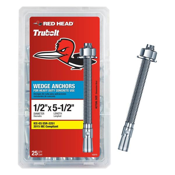 1/2 in. x 5-1/2 in. Zinc Steel Hex-Nut-Head Solid Concrete Wedge Anchors (25-Pack)