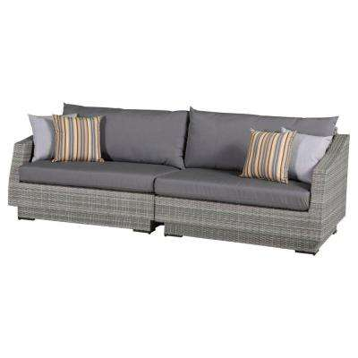 Cannes 2-Piece Patio Sofa with Charcoal Grey Cushions