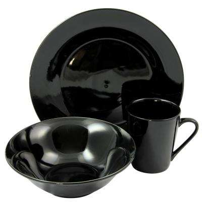 Carlton 12-Piece Black Dinnerware Set