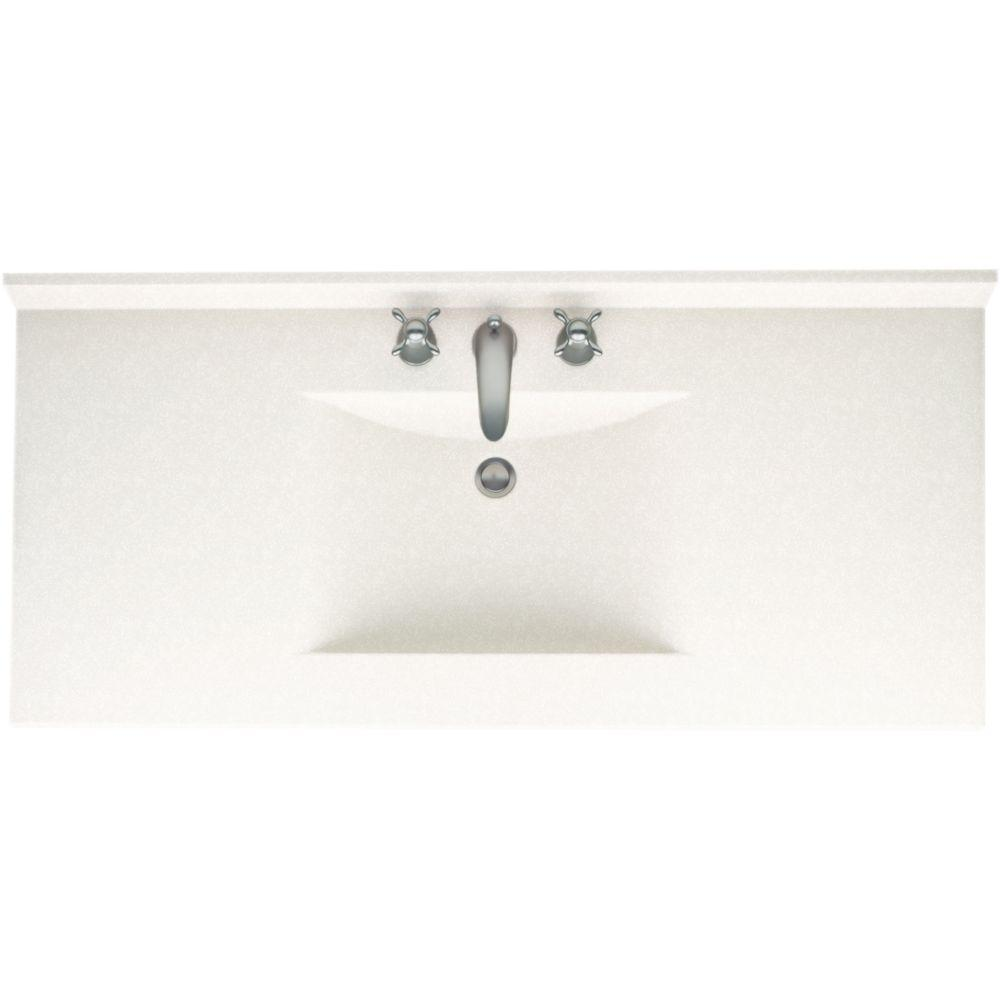 Swan Contour 49 in. W x 22 in. D x 10-1/4 in. H Solid-Surface Vanity Top in Tahiti White with Tahiti White Basin