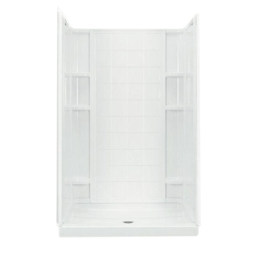 STERLING Ensemble 34 in. x 48 in. x 75.75 in. Shower Kit with Center Drain in White