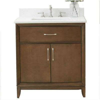 31 in. Vanity in Antique Coffee with Quartz Vanity Top in White with White Basin