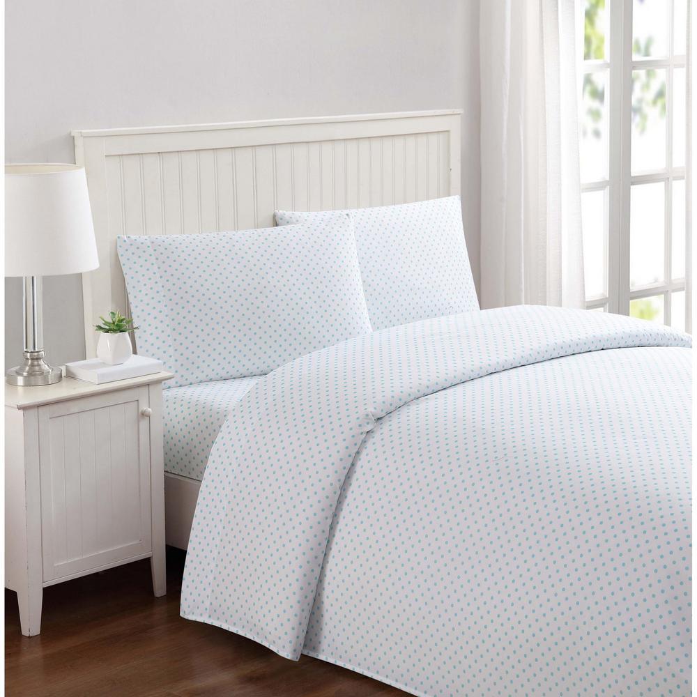 Truly Soft Everyday Dot Aqua Twin XL Sheet Set SS2329AQTX 4700