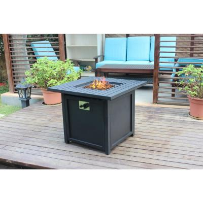 30 in. 50,000 BTU Outdoor Slat Top Gas Fire Pit Table in Black