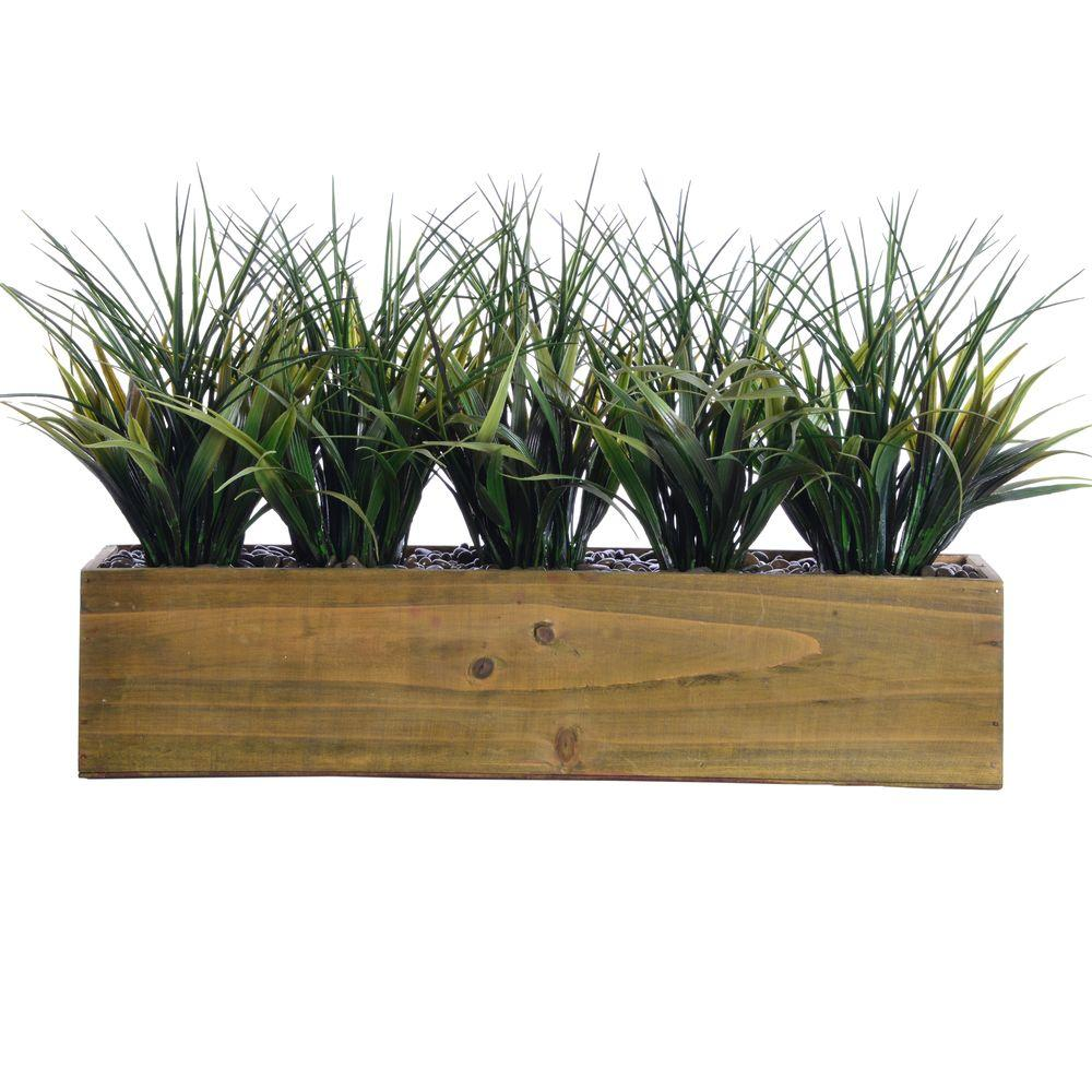 Laura ashley 24 in x 9 in x 12 in tall plastic grass in for Outdoor tall grass plants