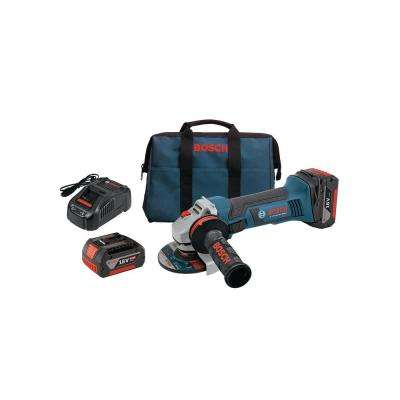 18-Volt Lithium Ion 4-1/2 in. Angle Grinder with (2) FatPack Batteries (4.0Ah) and Lock-On Slide Switch