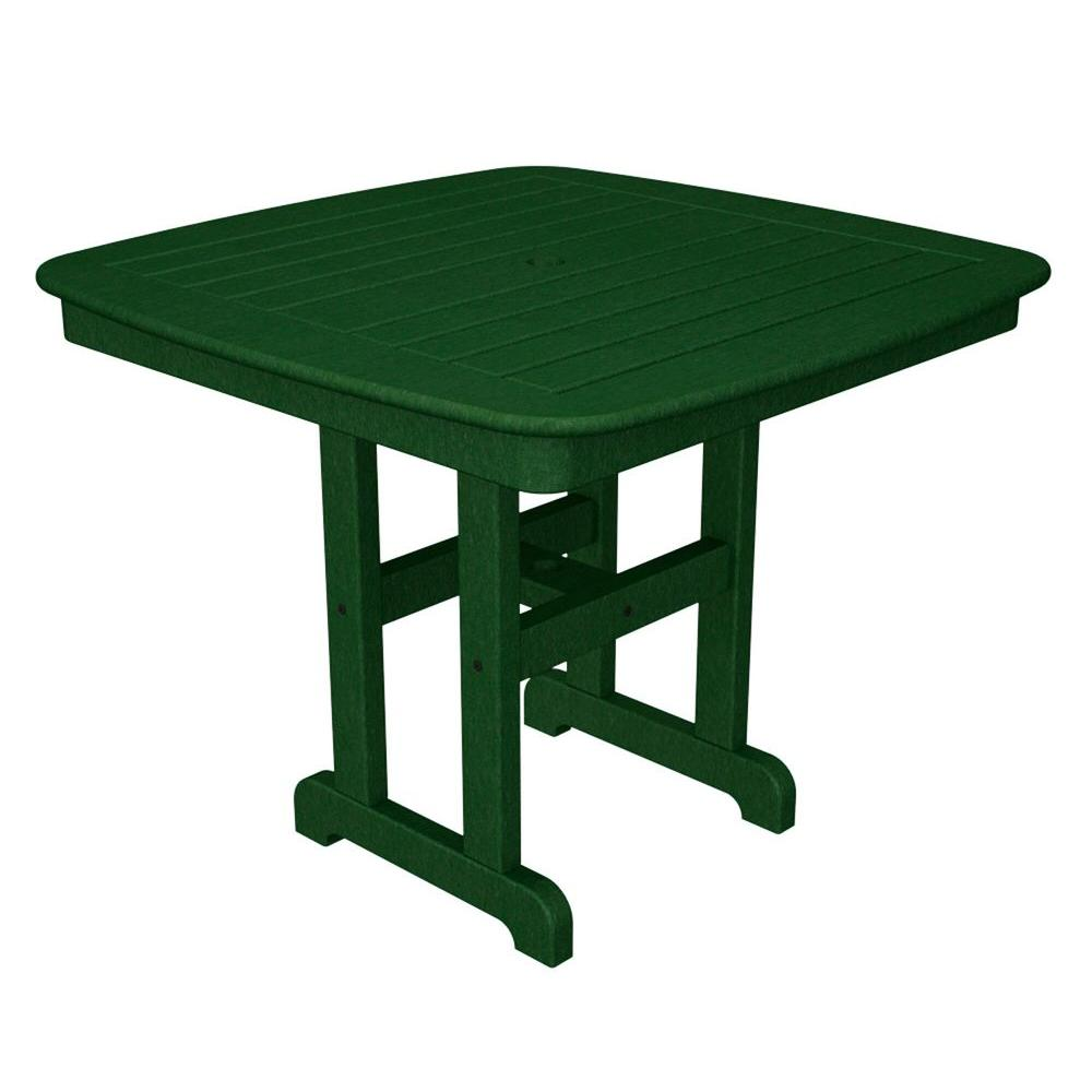 Nautical 37 in. Green Plastic Outdoor Patio Dining Table