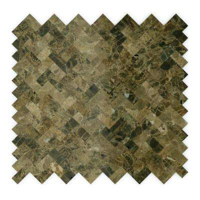 Moka Brown 12.09 in. x 11.65 in. x 5 mm Stone Self-Adhesive Wall Mosaic Tile