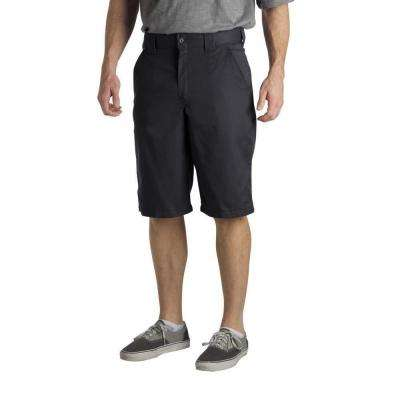 Regular Fit 34 in. x 13 in. Polyester Slant Multi-Pocket Short Black