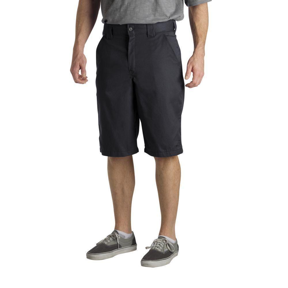 Regular Fit 36 in. x 13 in. Polyester Slant Multi-Pocket Short Black