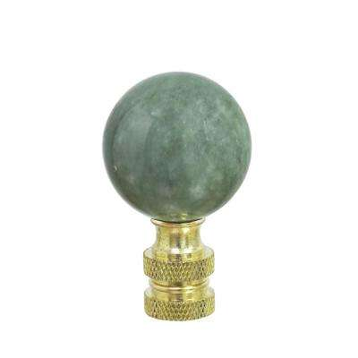 2 in. Green Faux Marble Ball Finial with Brass Plated Finish (1-Pack)