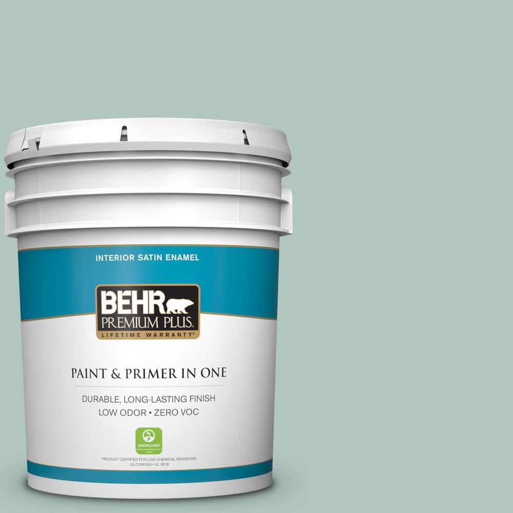 BEHR Premium Plus 5-gal. #480E-3 Marina Isle Zero VOC Satin Enamel Interior Paint