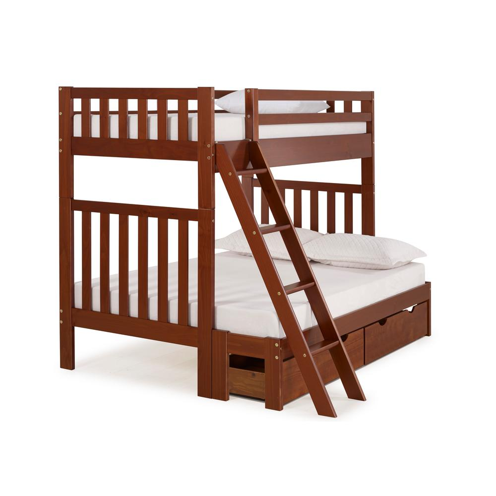 Aurora Chestnut Twin Over Full Bunk Bed with Storage Drawers