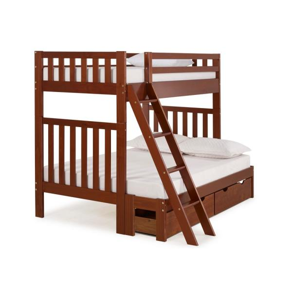 Alaterre Furniture Aurora Chestnut Twin Over Full Bunk Bed with Storage