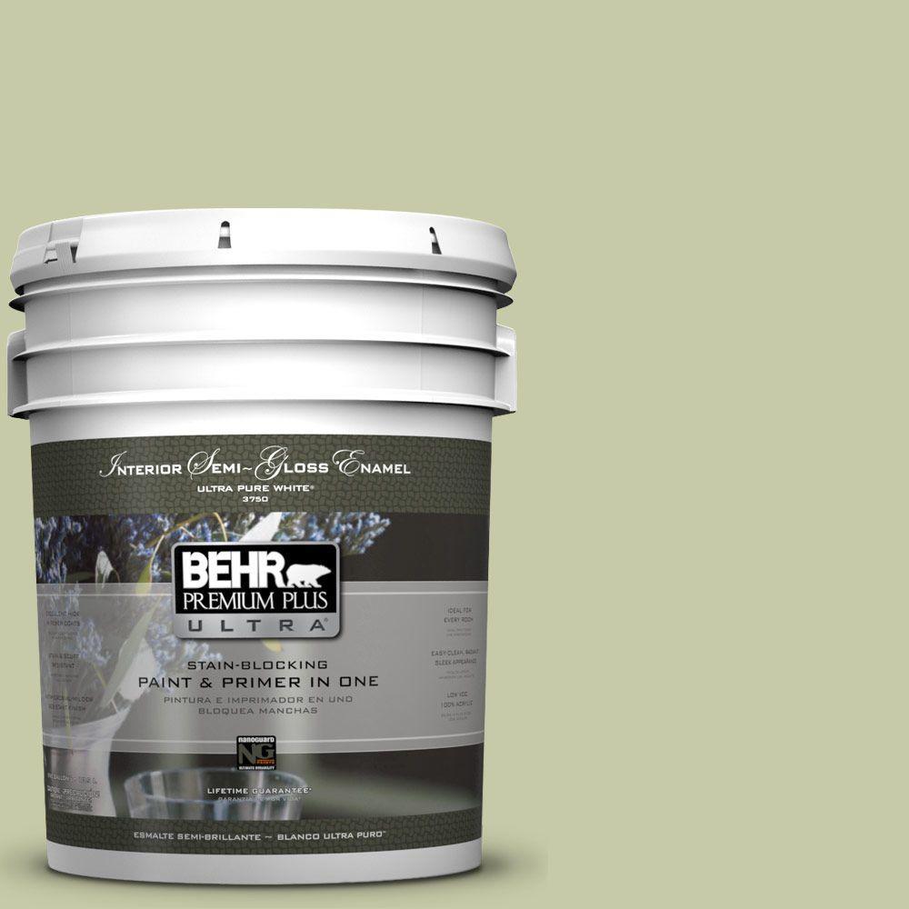 5-gal. #M350-3 Sap Green Semi-Gloss Enamel Interior Paint