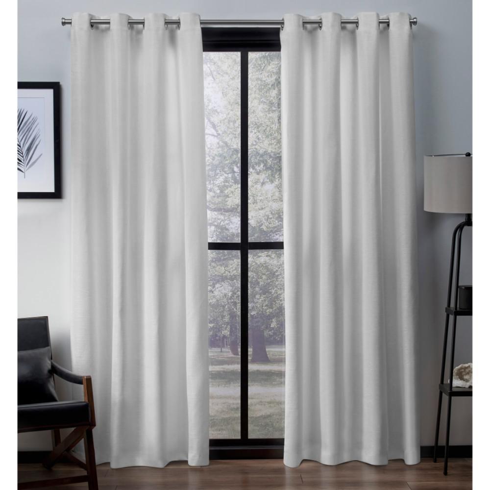 Virenze 54 in. W x 63 in. L Faux Silk Grommet Top Curtain Panel in Winter White (2 Panels)