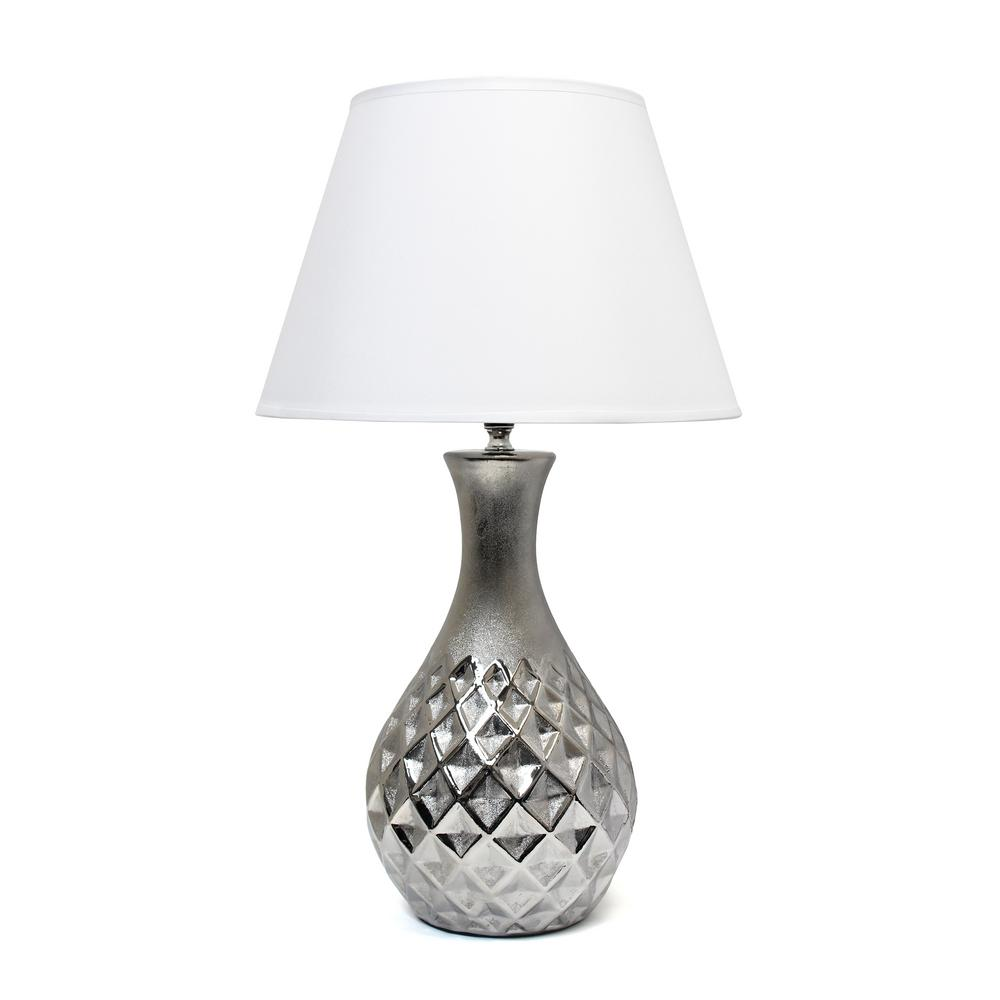 f895e987dc9d Juliet Ceramic Table Lamp with Metallic Silver Base and White Fabric Shade