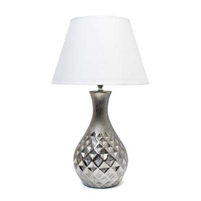 20.13 in. Juliet Ceramic Table Lamp with Metallic Silver Base and White Fabric Shade
