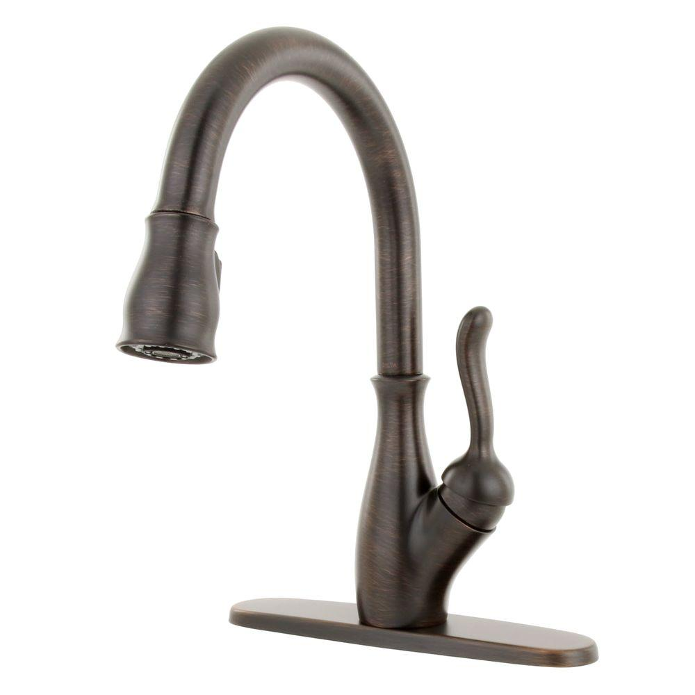 Delta Kitchen Faucet Bronze Delta Leland Singlehandle Pulldown Sprayer Kitchen Faucet In
