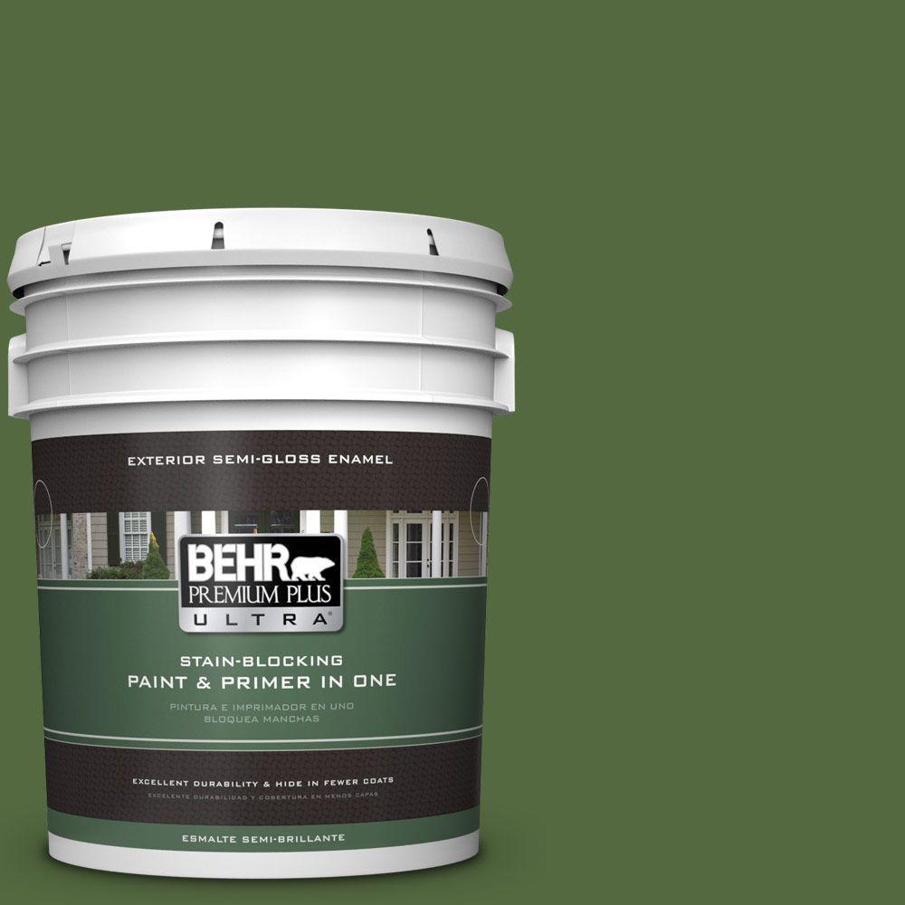 BEHR Premium Plus Ultra 5-gal. #M380-7 Alfalfa Extract Semi-Gloss Enamel Exterior Paint