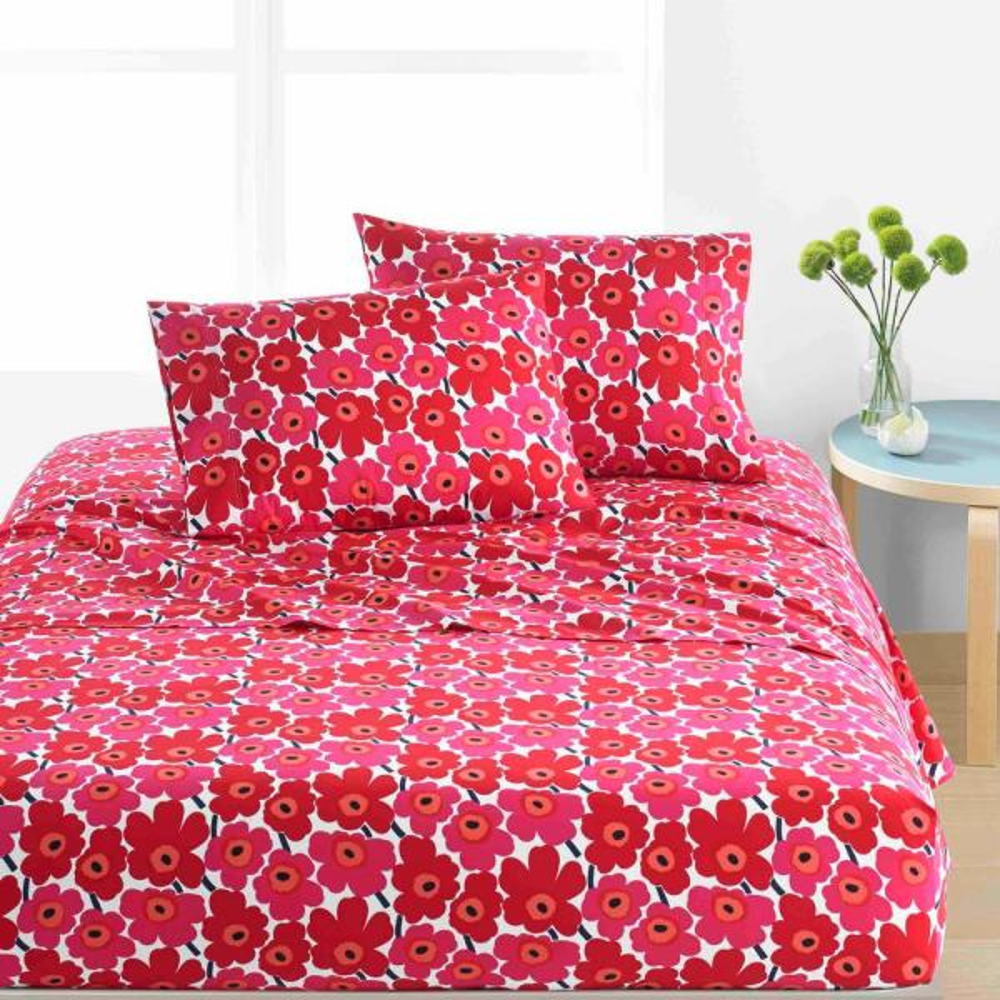Marimekko Mini Unikko Red 3 Piece Cotton Sheet Set Twin Extra