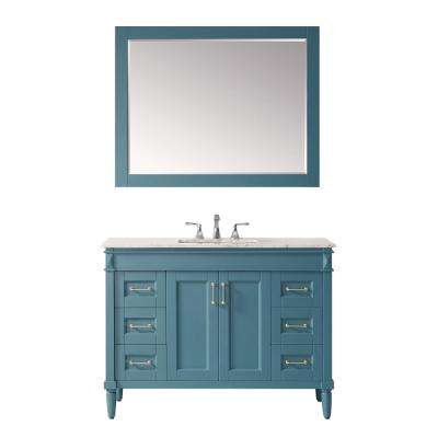"""Catania 48"""" Vanity in RoyalGreen with Carrara White Marble Countertop With Mirror"""