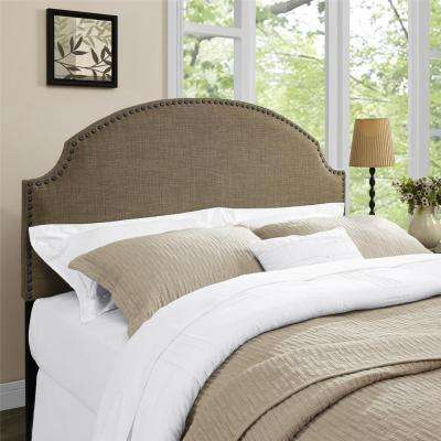 Kamden Chocolate Linen Full/Queen Headboard with Nailheads
