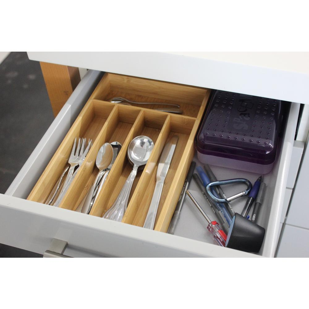 CooknCo 8.5 in. x 13.5 in. x 2 in. 5-Slot Bamboo Flatware Organizer