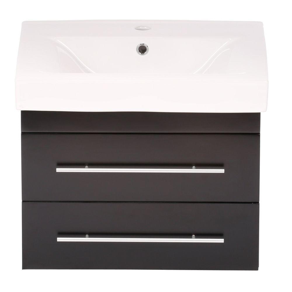 Lyon S 25 in. W Single Vanity in Black with Porcelain Vanity Top in White