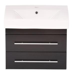 Bellaterra Home Lyon S 25 inch W Single Vanity in Black with Porcelain Vanity Top in White by Bellaterra Home