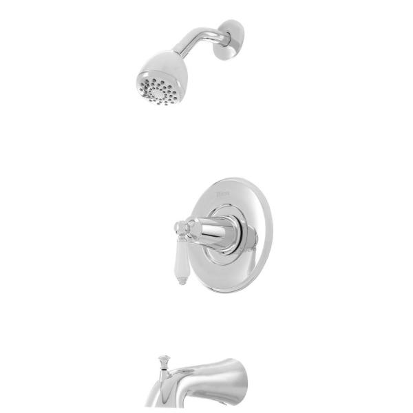Courant Single-Handle 1-Spray Tub and Shower Faucet in Polished Chrome with White Ceramic Lever Handle (Valve Included)